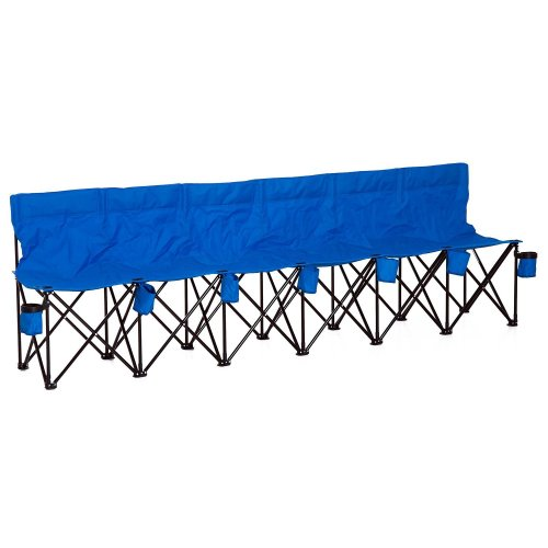 Outsunny Football 6 Seater Folding Bench Camping Portable Spectator Chair - Blue