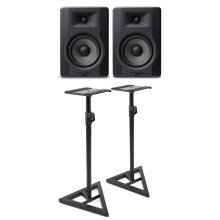 M-Audio BX5 D3 Monitor Speakers - Pair And JB's Music Monitor Floor Stands