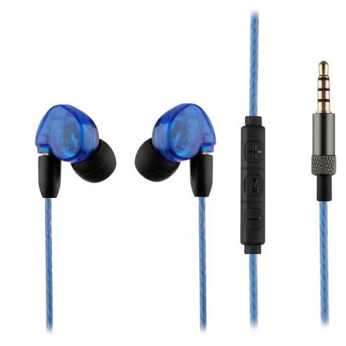In-Ear Sound-Isolating Earphones MMCX HD Headphones  - Blue - Inline Remote Mic