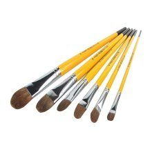 6 Pieces Yellow Oil Painting Tools for Child/Painting Brushes Sets