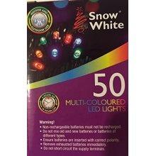 Snow White 50 LED Lights Multi-coloured - Battery Multi Coloured String Power -  lights led battery 50 multi coloured string power fairy garden party