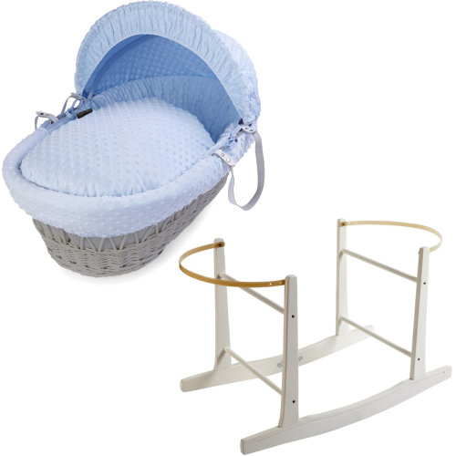 Grey Wicker Blue Dimple Moses Basket With White Rocking Stand