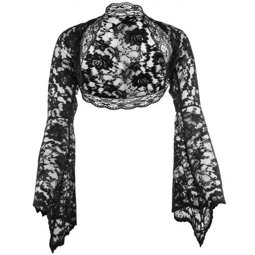 Grace & Flair - Ladies Black Lace Bell Sleeve Bolero Size 6-30