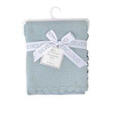 East Coast Baby Garter Stitch Blanket Baby Silver Blue