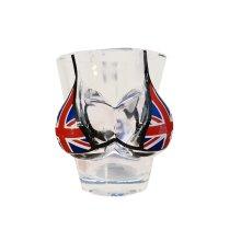 Boobs and Union Jack Bikini Shot Glass London Flag Souvenir! Souvenir / Speicher / Memoria! Cute Union Jack Shot Glass With Built-In Bikini! Verre...