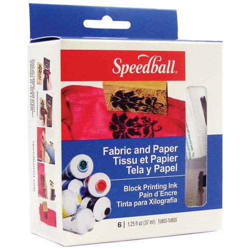 Speedball Block Printing Inks 1.25oz 6/Pkg-Fabric & Paper