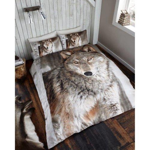 Wolf 3D print cotton blend duvet cover bedding set