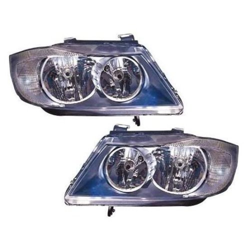 Bmw 3 Series E91 Estate 3 2005 12 2008 Black Headlights Headlamps Pair O S N S
