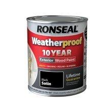 Ronseal 10 Year Weatherproof Exterior Wood Paint 750ml - SATIN Black