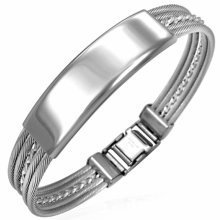 Urban Male Solid Stainless Steel Polished Braided Wire ID Bangle Bracelet