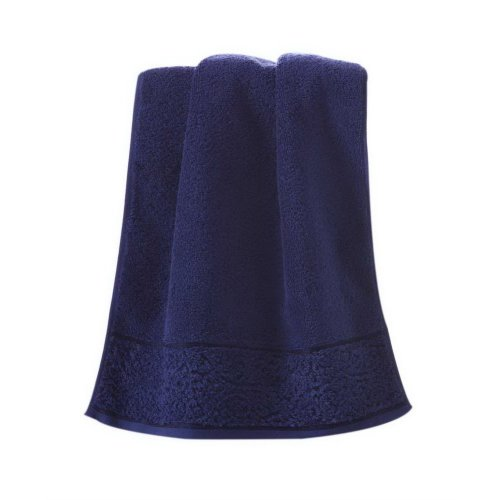 Soft Absorbent Cotton Towels Thicken European Solid Color Bath Towels, Dark Blue