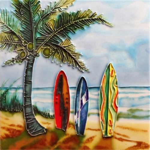 En Vogue B-301 Palm Tree Surfboards Beach View - Decorative Ceramic Art Tile - 8 in. x 8 in.