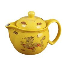 Chinese Dragon Pattern Yellow Ceramic Tea and Coffee Pot