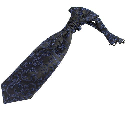Navy on Black Swirl Leaf Wedding Cravat #AB-WCR1000/4
