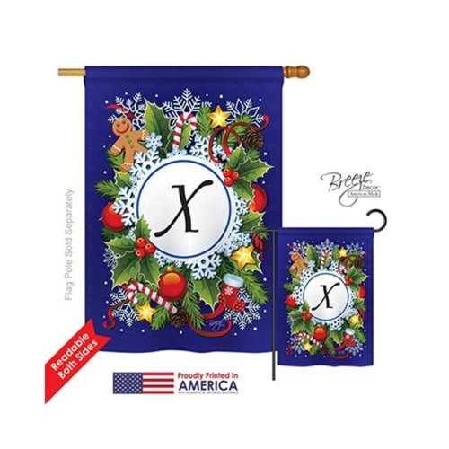Breeze Decor 30102 Winter X Monogram 2-Sided Vertical Impression House Flag - 28 x 40 in.