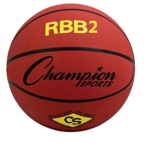 Champion Sports RBB2RD 27.5 in. Pro Rubber Basketball, Red