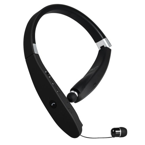 GRDE Neckband Wireless Bluetooth 4.1 Headphones with Retractable Earbuds, Foldable Headset Noise Cancelling Earphones with Microphone for iPhone,...
