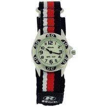 Ravel Nite-Glo Quartz Luminous Dial Black Red & White Velcro Boys Watch R1704.10