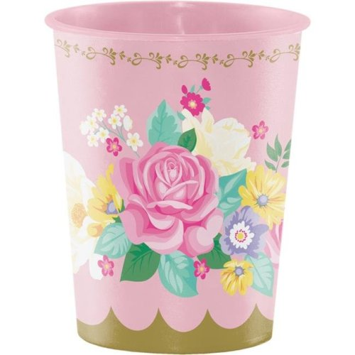 Creative Converting 340472 Floral Tea Party 16 oz Plastic Cup