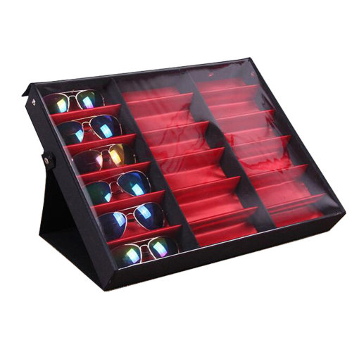 Eyeglasses Display Tray Sunglasses Case with Cover – 18 Compartments-A3