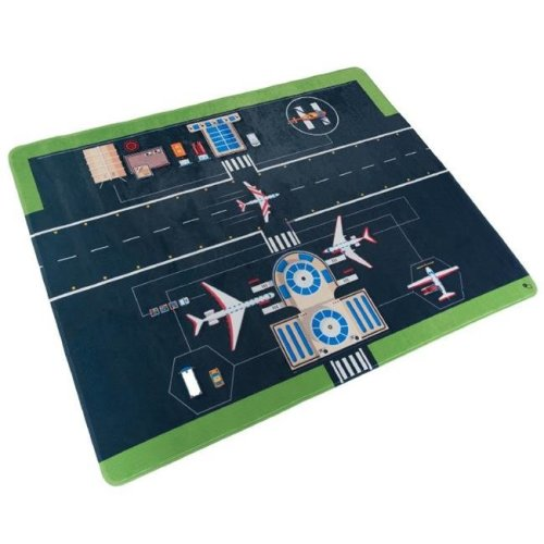 Hey Play 80-PM2 Microfiber Flannel Fleece & Foam Baby Mat with Non Slip Back & Airport Scene for Toddlers, Boys & Girls