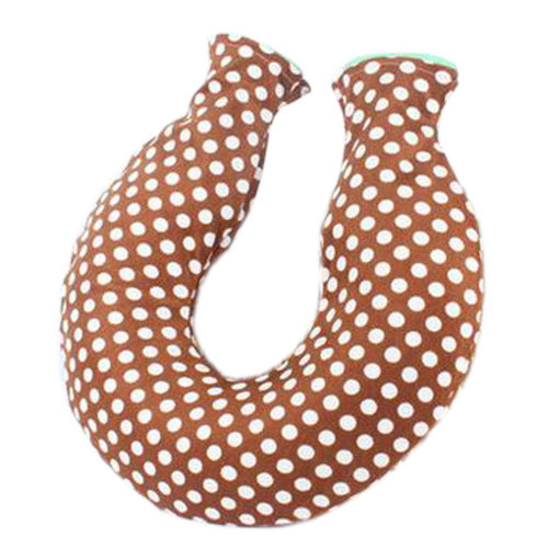1.6L U-shape Hot Water Bottle Water-filled Water Bag With Brown Villus Cover