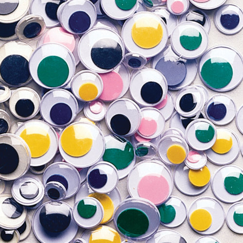 Paste-On Wiggle Eyes Assorted 7mm To 15mm 100/Pkg-Assorted