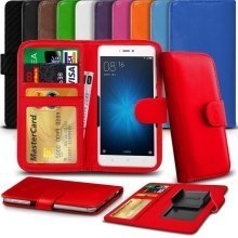 "iTronixs - Alcatel U5 (5"") High Quality Clamp Style PU Leather Wallet Case Cover"