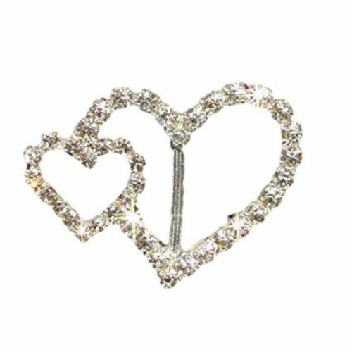 10 x Beautiful Silver Rhinestone Ribbon Slider Buckles Crystal Diamante Embellishment Double Heart For Wedding Card Invitations