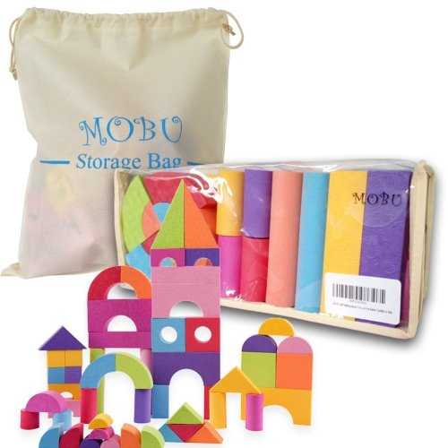 MOBU Soft Building Blocks Toys With an Reusable Storage Bag, 50 PCS Creative Safe Bright Color EVA Foam Brick Setf For Toddlers Playing Indoor...