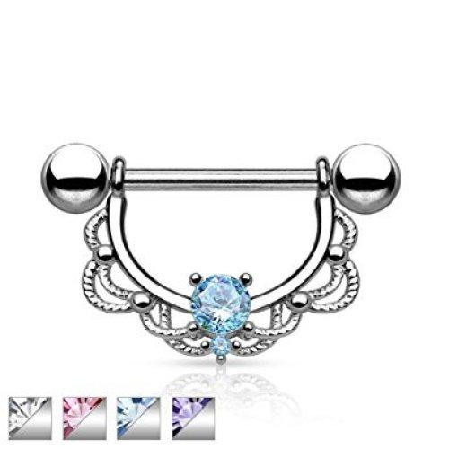 Crystal Filigree Drop Royal Princess Surgical Steel Nipple Bar Piercing Jewellery