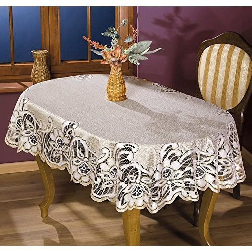 MforStyle Tablecloth Cream Golden beige Heavy Lace Oval Quality