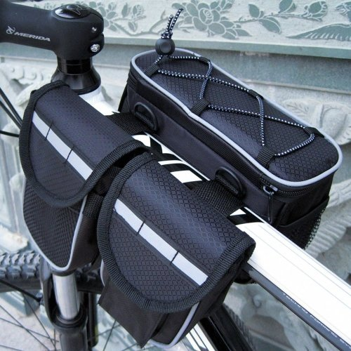 Mekarsoo CB1 Bike Bicycle 3 in 1 Multi-function Front Frame Tube Pannier Bag with Rainproof Cover(BLACK)