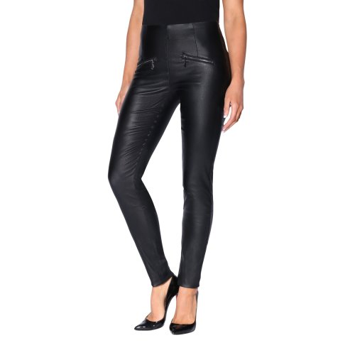 High Waisted PU Trousers with Zips