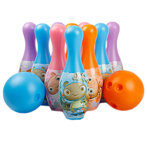 Kids Colorful Plastic Bowling Ball Set With Cute Pattern, 2 Balls And 10 Pins