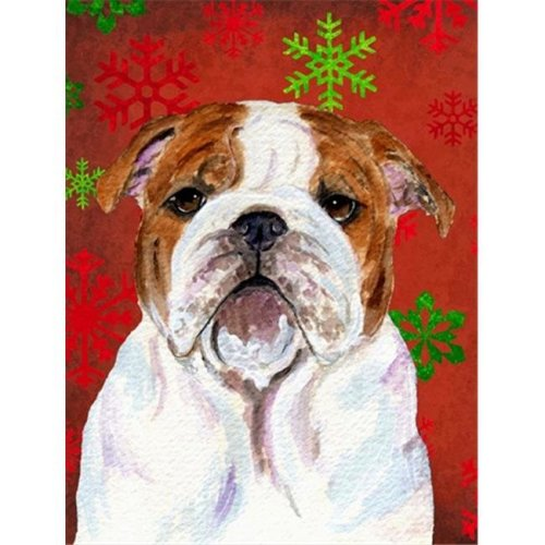 Carolines Treasures SS4691CHF 28 x 40 in. Bulldog English Red Green Snowflakes Holiday Christmas Flag Canvas House Size