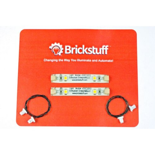 Brickstuff Warm White LED Strip and Connecting Cable (2-Pack) for LEGO Models - LEAF02-WW-2PK
