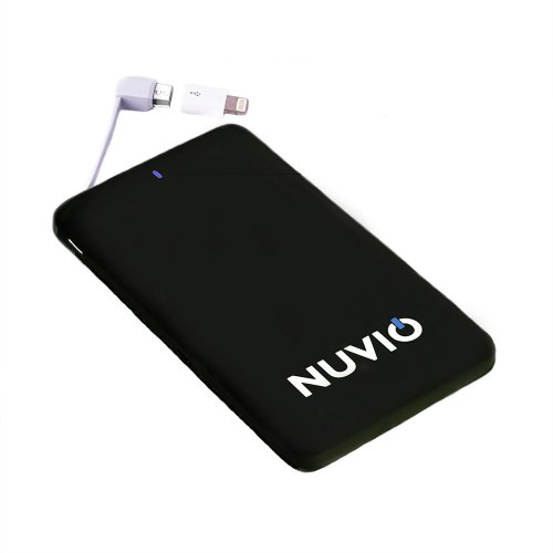 Nuvio Power Bank 5000mAh Slim Portable USB External Battery Charger in Black with Built-in Lightning and Micro USB Cable