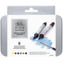 Winsor & Newton Water Colour Marker Set 6/Pkg-
