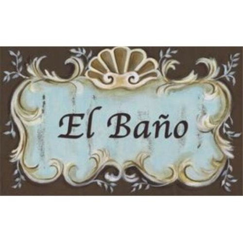 Stupell Industries WRP-238eb El Bano Blue Brown Crest Top Rect Wall Plaque
