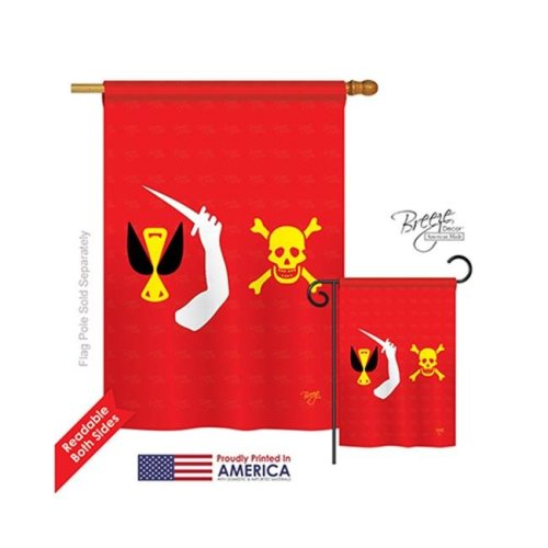 Breeze Decor 07043 Pirate Christopher Moody 2-Sided Vertical Impression House Flag - 28 x 40 in.