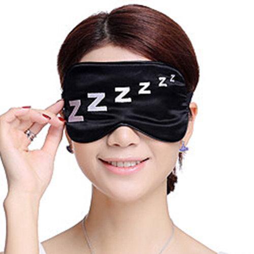 Sleeping Eye Mask Silk Sleep Mask Eye-shade BreatheFreely Aid-sleeping ZZZ Black