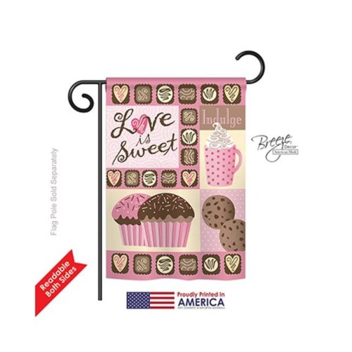Breeze Decor 51048 Valentines Love is Sweet 2-Sided Impression Garden Flag - 13 x 18.5 in.