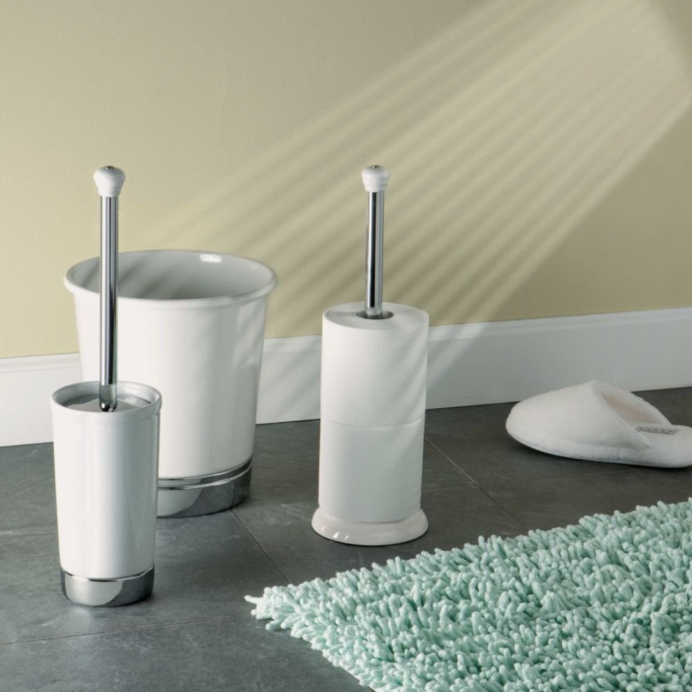 dc134bd19a5884 ... InterDesign York Bathroom Free Standing Toilet Paper Roll Holder, White/ Chrome - 2. >