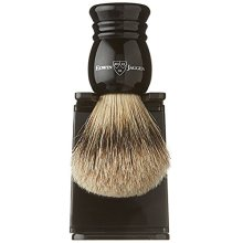 Edwin Jagger 1ej256sds Traditional English Super Badger Hair Shaving Brush Faux Ebony Medium With Drip Stand, Black, Medium