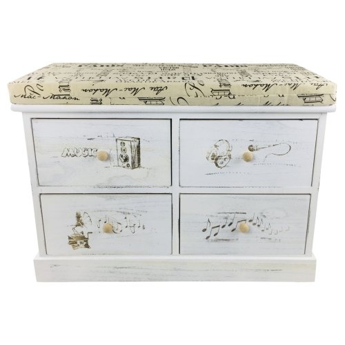 French Themed Wood Cabinet Bench Seat with 4 Drawers Storage 70cm
