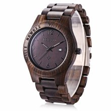 Bewell Mens' Dark Brown Wooden Watch - W086B
