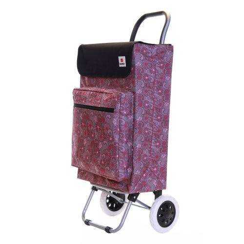 Karabar Moss Large Capacity Shopping Trolley, Grey/Pink