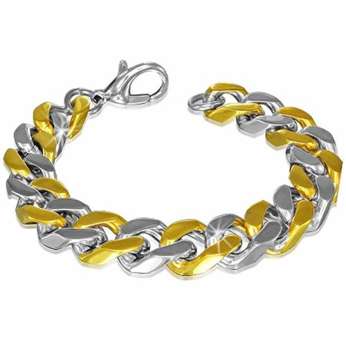 Urban Male Two Tone Stainless Steel Chunky Curb Link Bracelet For Men