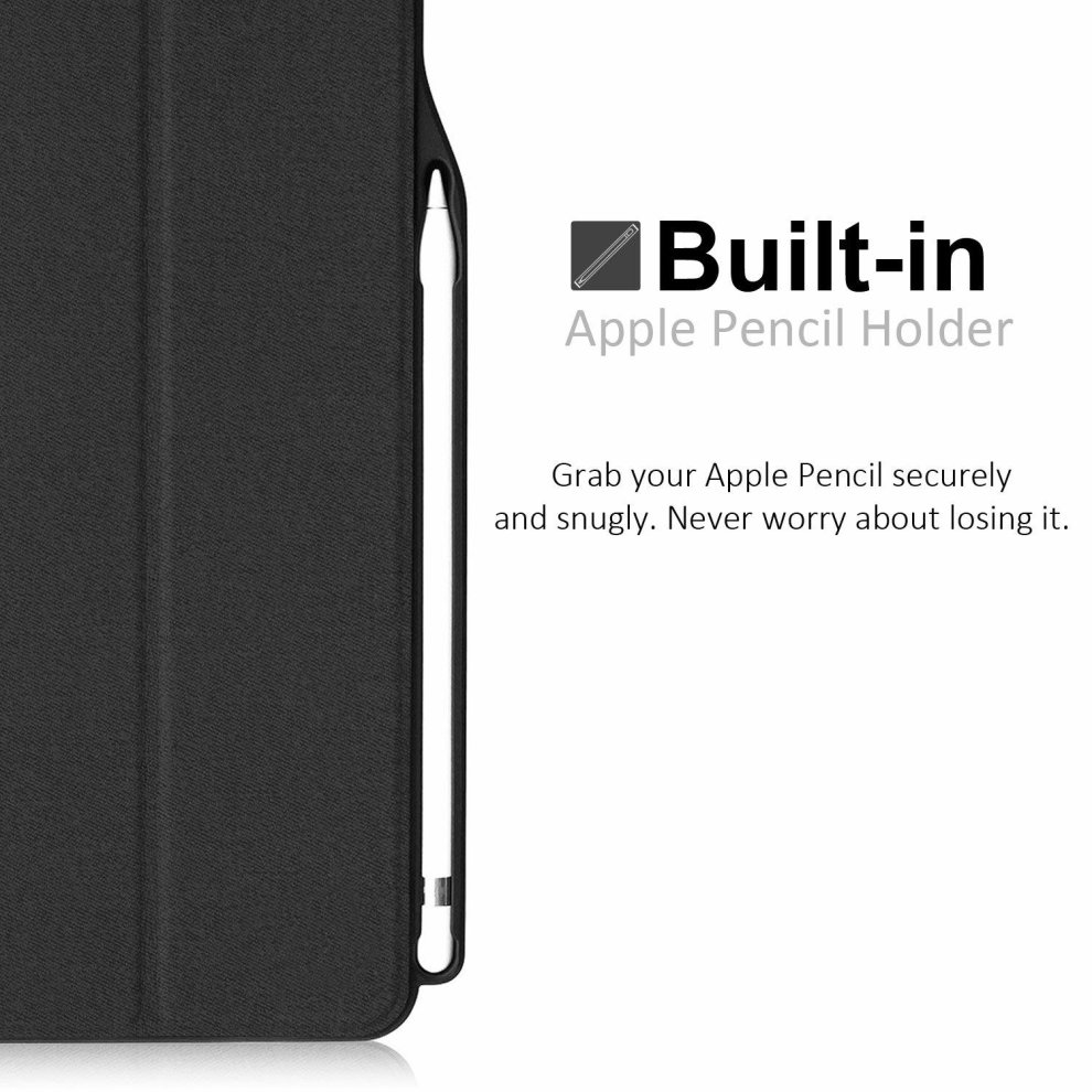 finest selection f30e5 1fba6 KHOMO iPad Pro 12.9 Inch Case with Pen Holder - DUAL Black Super Slim Cover  with Rubberized back and Smart Feature (sleep/wake) For Apple iPad Pro...